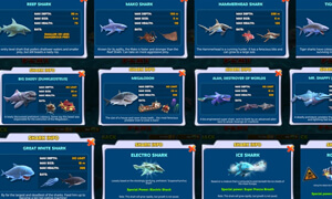 cac loai ca map trong game hungry shark evolution